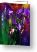 Iris Art Mixed Media Greeting Cards - Jewels Of Summer Greeting Card by Carol Cavalaris