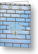 Star Of David Greeting Cards - Jewish Gate With a Menorah Greeting Card by Inti St. Clair