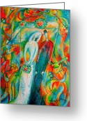 Reception Painting Greeting Cards - Jewish Wedding Greeting Card by Leon Zernitsky