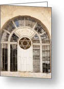 Star Of David Greeting Cards - Jewish Window with the Star of David Greeting Card by Noam Armonn