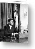Assassinated Leaders Greeting Cards - JFK Addresses The Nation  Greeting Card by War Is Hell Store