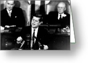 President Greeting Cards - JFK Announces Moon Landing Mission Greeting Card by War Is Hell Store