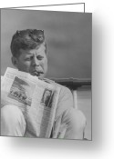 Assassinated Leaders Greeting Cards - JFK Relaxing Outside Greeting Card by War Is Hell Store