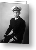 Assassinated Leaders Greeting Cards - JFK Wearing His Navy Uniform  Greeting Card by War Is Hell Store
