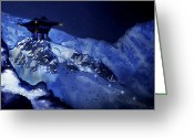Snowy Night Greeting Cards - Jhinza Temple in The Mountains Greeting Card by Scott Harris