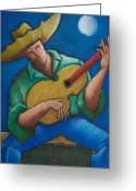Puerto Rico Drawings Greeting Cards - Jibaro bajo la luna Greeting Card by Oscar Ortiz