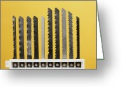 Saw Blades Greeting Cards - Jigsaw Blades Greeting Card by Andrew Lambert Photography