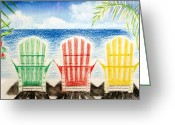 Crayon Painting Greeting Cards - Jills Beach Chairs Greeting Card by Jamie Frier