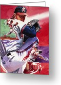 Athletes Greeting Cards - Jim Abbott Greeting Card by Ken Meyer jr