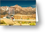 Archer Greeting Cards - Jim Archer and Kestrel Sailplane Lone Pine California Greeting Card by Gus McCrea