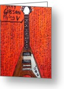 Woody Guthrie Greeting Cards - Jim James Gibson Flying V Greeting Card by Karl Haglund