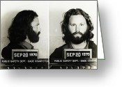 Mug Shot Greeting Cards - Jim Morrison Mugshot Greeting Card by Bill Cannon