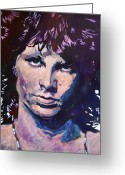Music Icon Greeting Cards - Jim Morrison the Lizard King Greeting Card by David Lloyd Glover