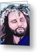 Rock And Roll Greeting Cards - Jim Morrison Greeting Card by Tom Roderick
