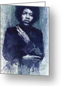 Rock  Painting Greeting Cards - Jimi Hendrix 01 Greeting Card by Yuriy  Shevchuk