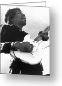 Entertainer Greeting Cards - Jimi Hendrix (1942-1970) Greeting Card by Granger