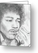 Icon  Pastels Greeting Cards - Jimi Hendrix Artwork Greeting Card by Roly D Orihuela