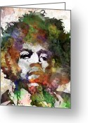 Stencil Art Greeting Cards - Jimi Hendrix Greeting Card by Bobby Zeik