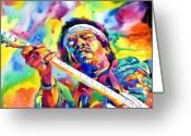 Featured Artist Painting Greeting Cards - Jimi Hendrix Electric Greeting Card by David Lloyd Glover