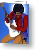 Fender Stratocaster Greeting Cards - Jimi Hendrix  Greeting Card by Larry Smart