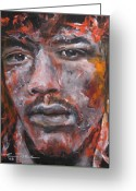 Jimi Hendrix Painting Greeting Cards - Jimi Hendrix Manic Depression Greeting Card by Eric Dee