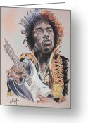 Blues Pastels Greeting Cards - Jimi Hendrix Greeting Card by Melanie D