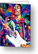 Star Greeting Cards - Jimi Hendrix Purple Greeting Card by David Lloyd Glover