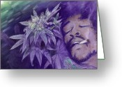 Plants Pastels Greeting Cards - Jimi Hendrix Greeting Card by Raymond L Warfield jr