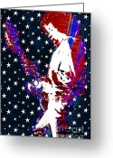 N Framed Prints Greeting Cards - Jimi Hendrix Red White and Blue Greeting Card by RJ Aguilar