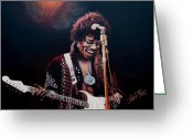 Live Music Greeting Cards - Jimi Hendrix Greeting Card by Shirl Theis