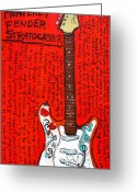 Iconic Guitars Greeting Cards - Jimi Hendrixs Monterey Strat Greeting Card by Karl Haglund