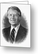 Nobel Peace Prize Greeting Cards - Jimmy Carter (1924- ) Greeting Card by Granger