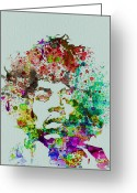 Rock And Roll Glass Greeting Cards - Jimmy Hendrix watercolor Greeting Card by Irina  March