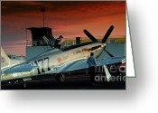 P-51 Greeting Cards - Jimmy Leeward and the Galloping Ghost by Gus McCrea Greeting Card by Gus McCrea