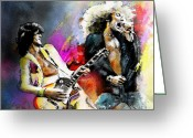 Rock Musicians Greeting Cards - Jimmy Page and Robert Plant Led Zeppelin Greeting Card by Miki De Goodaboom