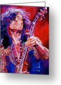Concert Painting Greeting Cards - Jimmy Page Greeting Card by David Lloyd Glover