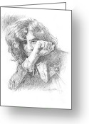Yardbirds Greeting Cards - Jimmy Page in Person Greeting Card by David Lloyd Glover