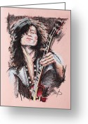 Guitar Pastels Greeting Cards - Jimmy Page Greeting Card by Melanie D