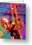 Best Seller Greeting Cards - Jimmy Page Stairway To Heaven Greeting Card by David Lloyd Glover