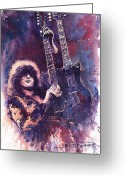 Rock  Painting Greeting Cards - Jimmy Page  Greeting Card by Yuriy  Shevchuk