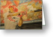 Mlb Mixed Media Greeting Cards - Jimmy Rollins Greeting Card by Keith Hancock