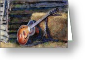 Barn Mixed Media Greeting Cards - Jims Guitar Greeting Card by Andrew King