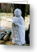 Karma Greeting Cards - Jizo Bodhisattva - Childrens Protector Greeting Card by Dagmar Ceki