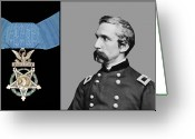 Round Greeting Cards - J.L. Chamberlain and The Medal of Honor Greeting Card by War Is Hell Store