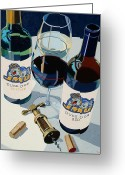 Wine Greeting Cards - JMU Red and White Number Two Greeting Card by Christopher Mize