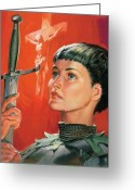 Catholic Church Painting Greeting Cards - Joan of Arc Greeting Card by James Edwin McConnell
