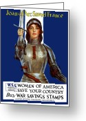 Great Mixed Media Greeting Cards - Joan of Arc Saved France Greeting Card by War Is Hell Store