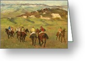 Riders Greeting Cards - Jockeys on Horseback before Distant Hills Greeting Card by Edgar Degas