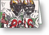 Sports Art Drawings Greeting Cards - Joe Montana and Jerry Rice Greeting Card by Jeremiah Colley