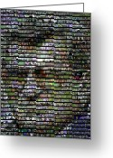 Coach Greeting Cards - Joe Paterno Mosaic Greeting Card by Paul Van Scott